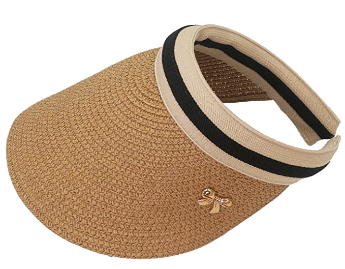 Roffatide Women Girls Empty Top Straw Sunscreen Summer Hats Sun Visor Caps  Khaki 5fe187acef65