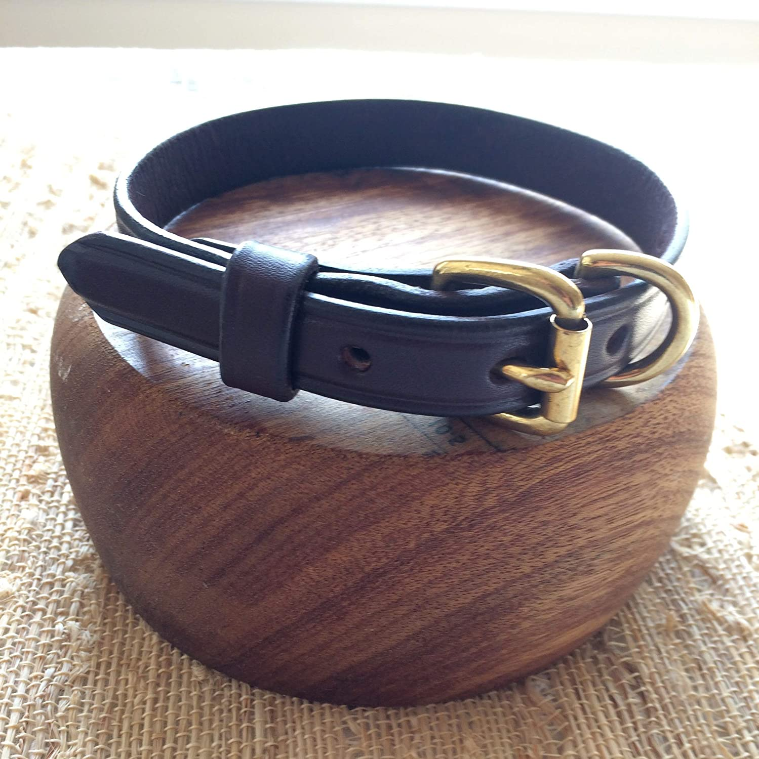 Dog Collar - Genuine Bridle Leather - Solid Brass Hardware - Handmade - Choose Size 12, 14, 16, 18, 20, 22 Inches - Great for Small, Medium, Large Dogs - Perfect Gift for Pet Lovers - By Boxwood & Mum