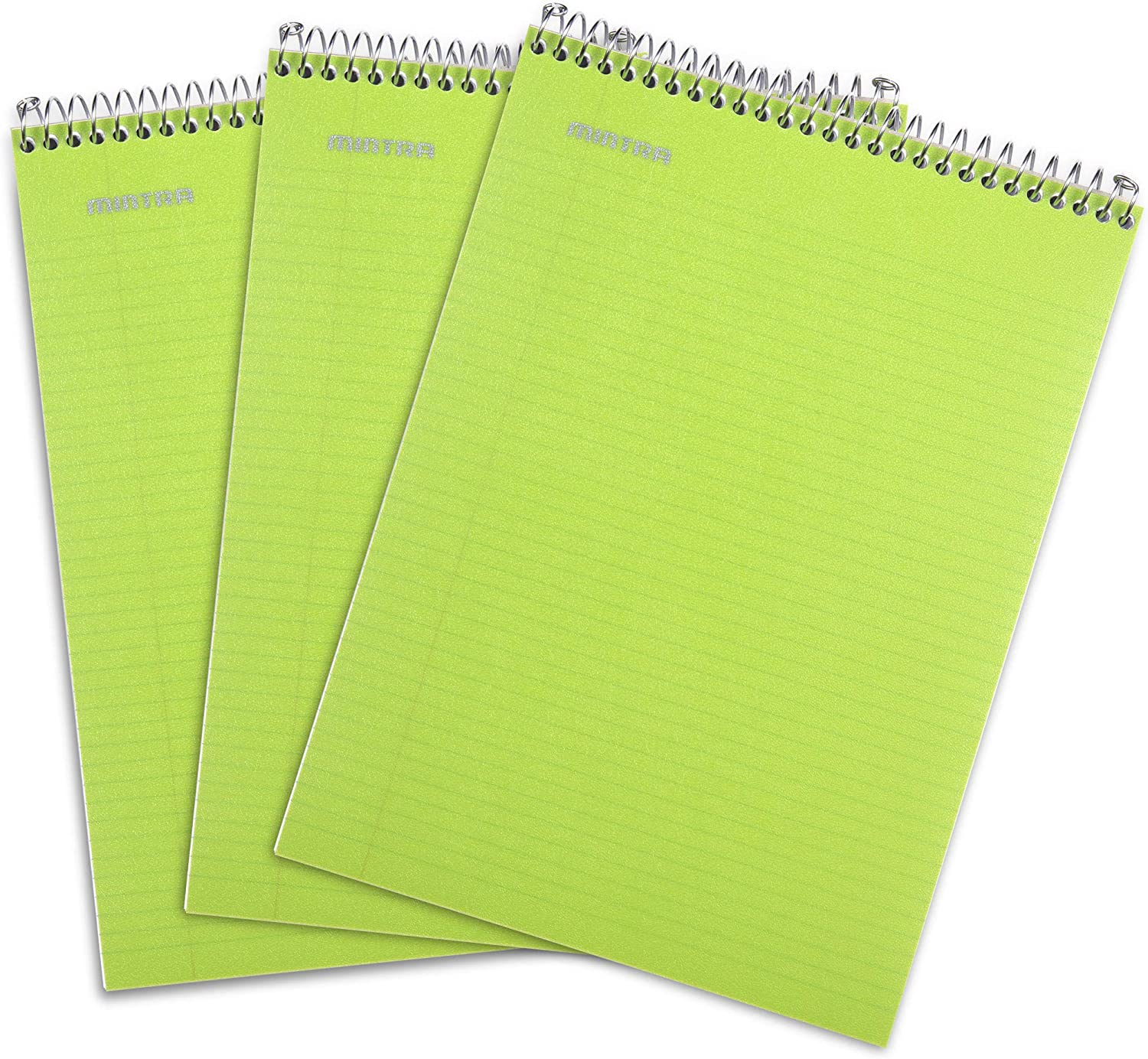 Mintra Office Top Bound Durable Spiral Notebooks - Strong Back, Left-Handed, 100 Sheets, Moisture Resistant Cover, School, Office, Business, Professional (Green, College Ruled) 3 Pack