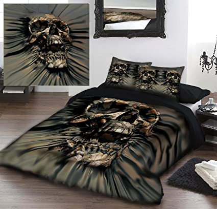 SKULL RIP THRU Twin Double Bed Duvet U0026 Pillow Bed Linen Set