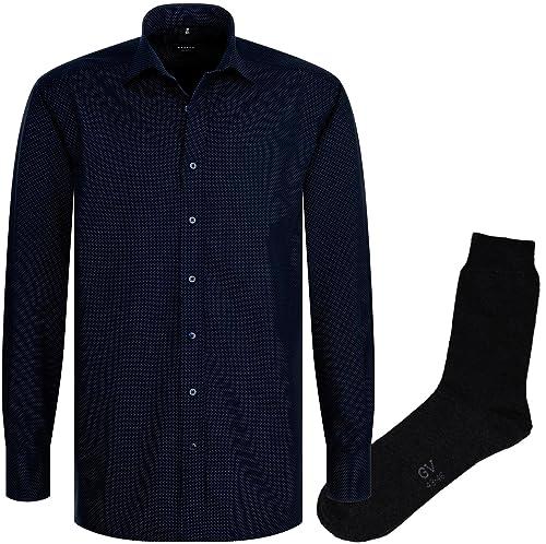 ETERNA Herrenhemd Comfort Fit, blau, fein gepunktet, Druck + 1 Paar hochwertige Socken, Bundle