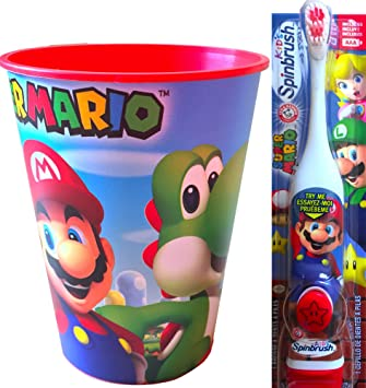 Super Mario Childrens Oral Hygiene Set Includes Super Mario Rinsing Cup with Super Mario Powered Toothbrush