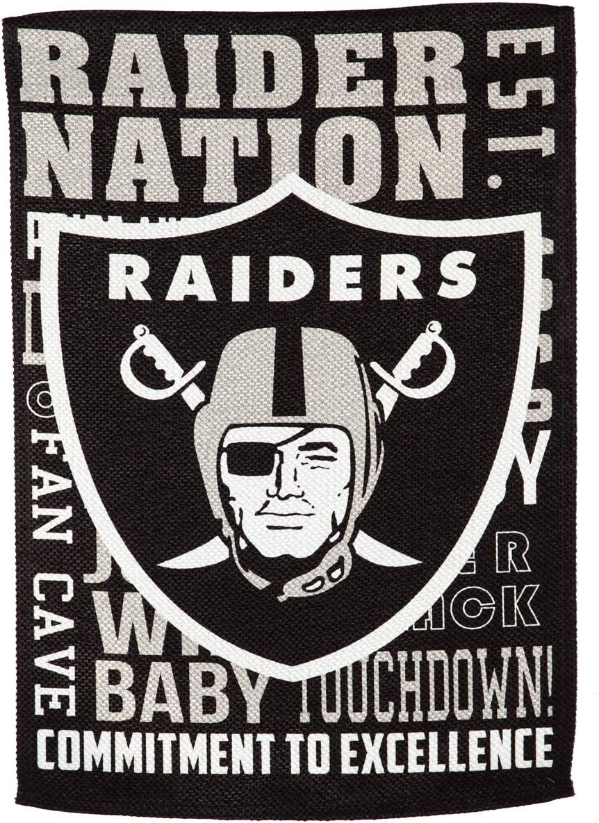 Team Sports America Oakland Raiders Fan Rules Garden Flag - 13 x 18 Inches