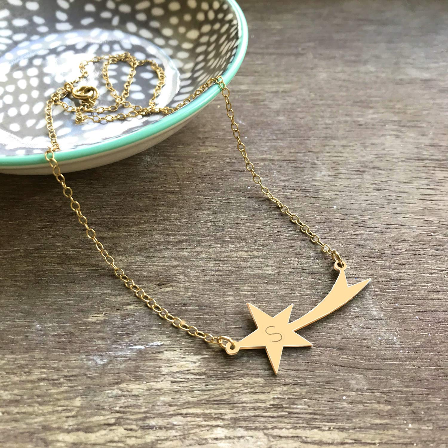 star necklace Personalised Sterling Gold Shooting Star Necklace celestial jewellery birthday gift shooting star necklace anniversary gift