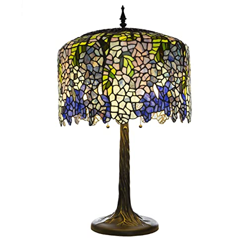 30 H Stained Glass Tiffany Inspired Grand Wisteria Table Lamp with Tree Trunk Base