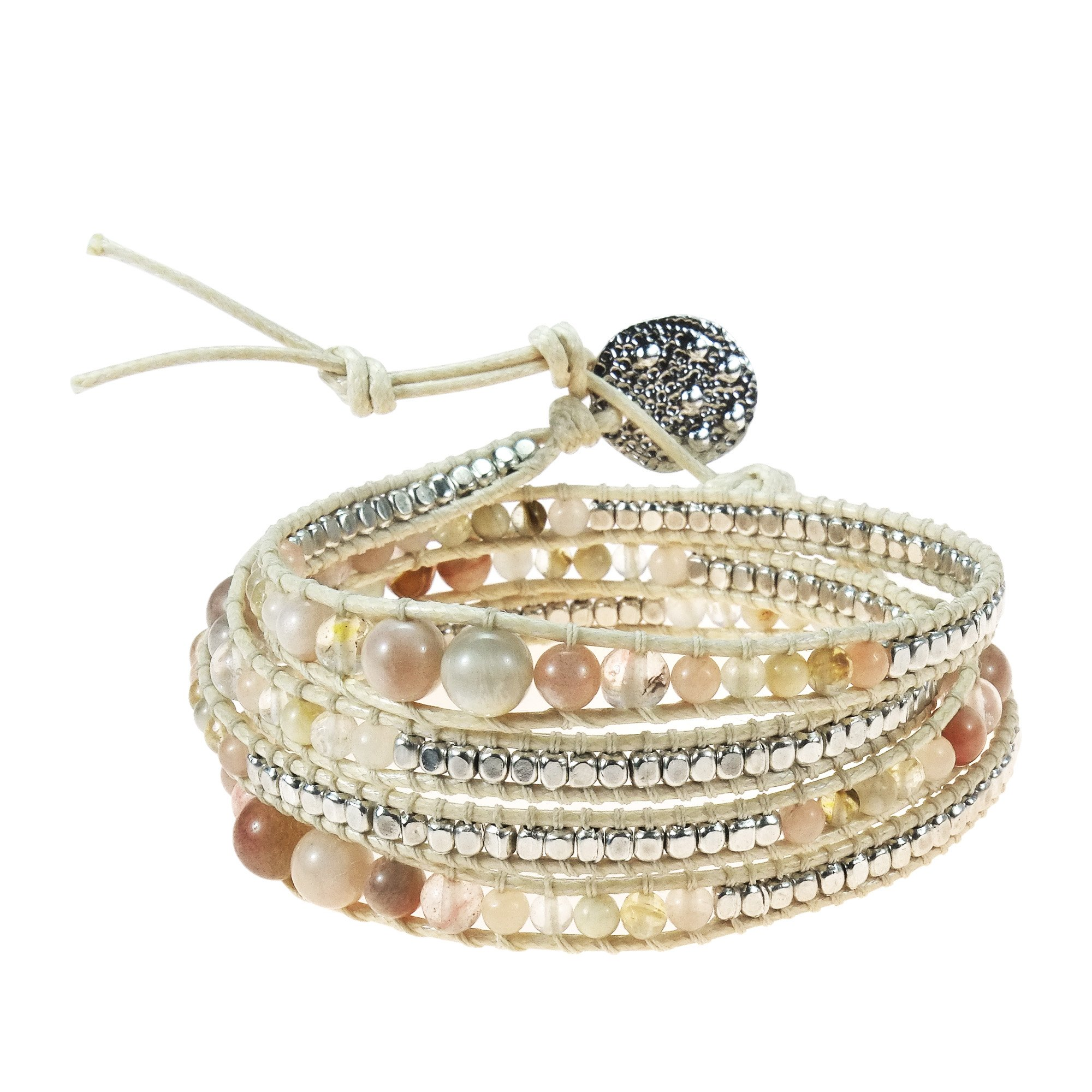 AeraVida Earthy Reconstructed Agate-Colored Glass-Fashion Silver Beads Wrap Bracelet