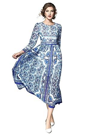 5a2b11e358a Women s Elegant Paisley Print Long Sleeves Casual A-line Long Maxi Sundress