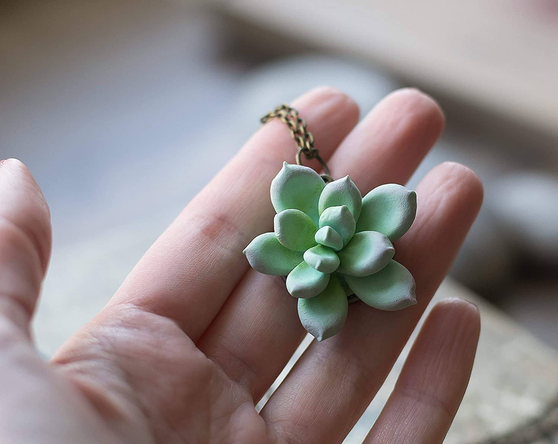 b479d5ea0 Amazon.com: Succulent jewelry - polymer clay pendant - plant succulent  necklace - summer wedding - cactus jewelry - tropical wedding - succulent  pendant: ...