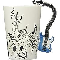 Moyishi Blue Electric Guitar Music Notes Holds Tea Coffee Milk Ceramic Mug 10.58oz In Gift Box Best Gift