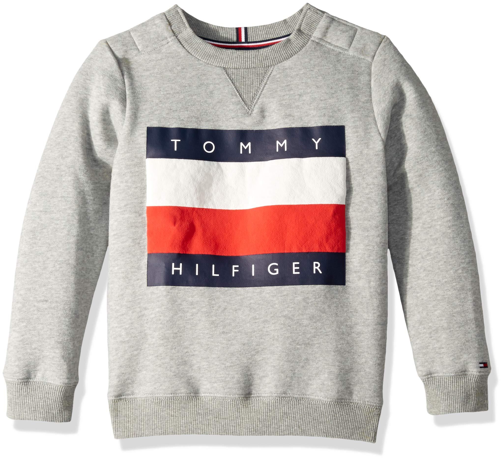 Tommy Hilfiger Boys' Adaptive Sweatshirt with Velcro Brand Closures at Shoulder, Sport Grey Heather LG