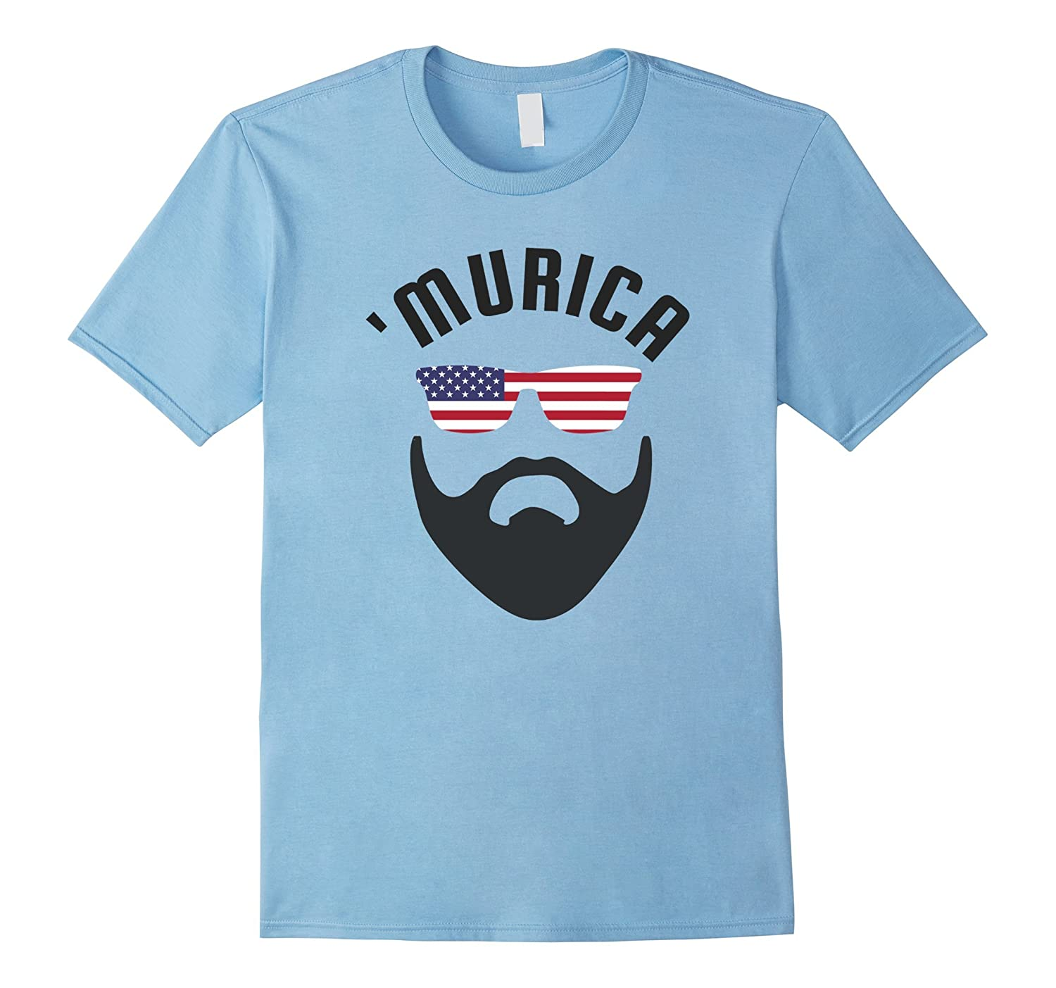 'Murica USA American Flag July 4th Fun Party T-Shirt Beard-TH