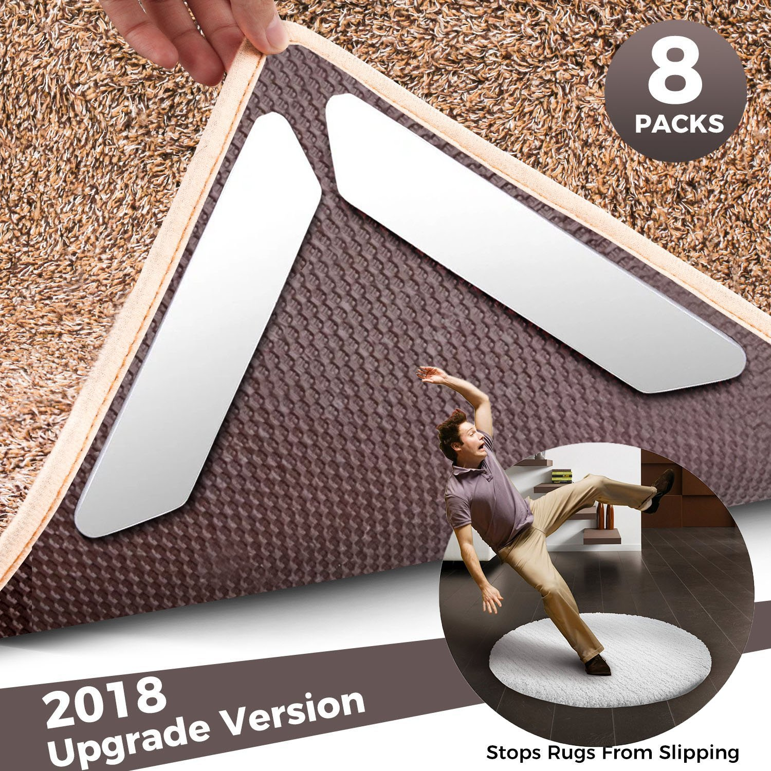 Rubikliss Rug Grippers,Non-Slip Anti-Curling Rug Gripper with Renewable Carpet Tape,Flatten Carpet Corners, Stop Slipping Ideal Rug Stopper For Kitchen | Bathroom|Wood and Carpet Floors by (8 packs)