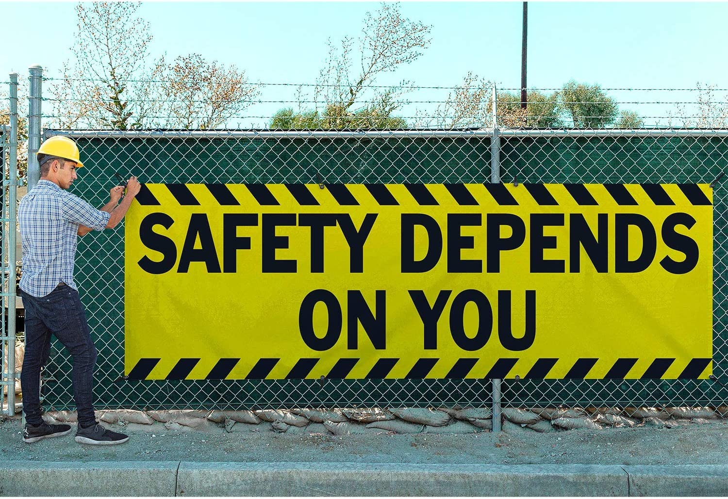 Safety Depends On You Vinyl Banner-Mesh Wind Resistant 4X12 Foot-Orange Includes Zip Ties HALF PRICE BANNERS Easy Hang-Made in USA