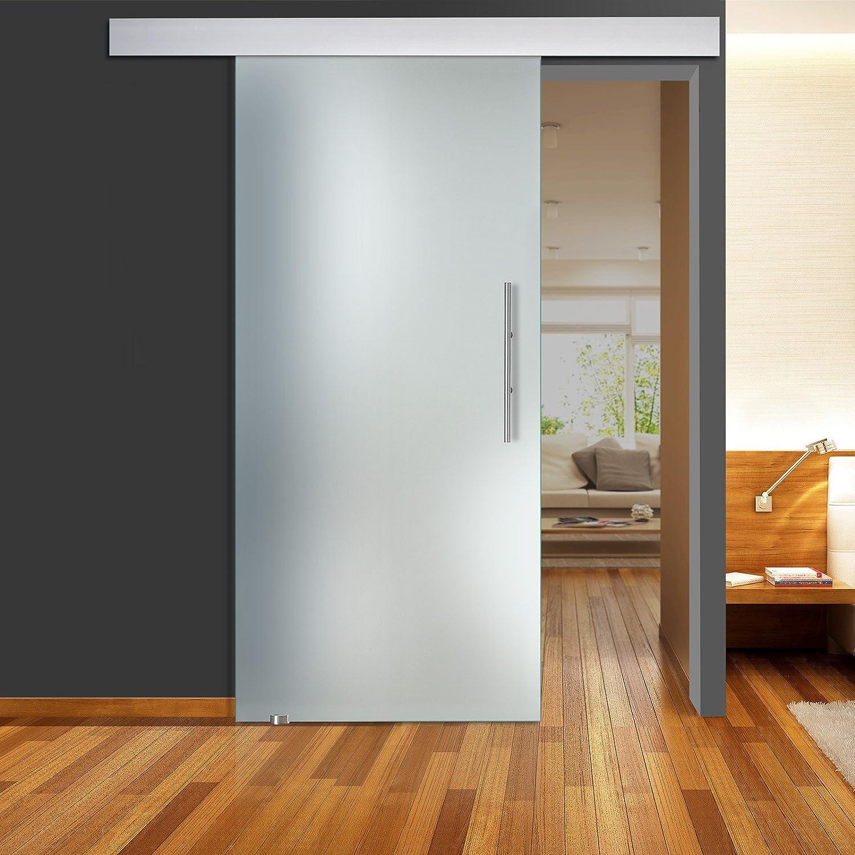 Correderas de cristal de puerta de zona llena mate QSS011 - ALU60 - GS 900 x 2050 mm DIN izquierda de seguridad de 8 mm con barra de acero inoxidable: Amazon.es: Bricolaje y herramientas