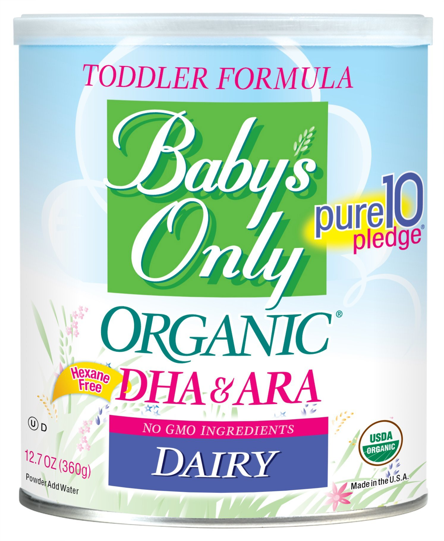 Baby's Only Organic Non-GMO Dairy with DHA & ARA Toddler Formula, 12.7 oz (Pack of 6)