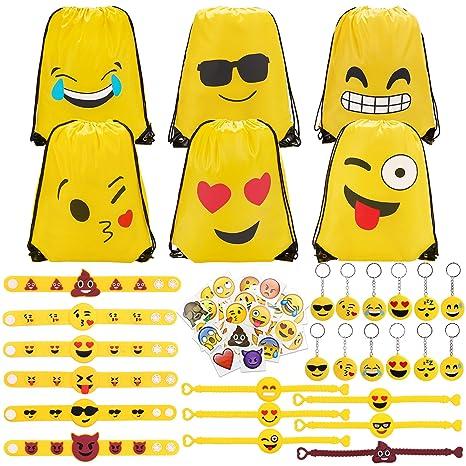 Konsait 70 Pack Emoji Bolsas de cuerdas, Emoji llavero, Emoji pulseras de Silicona goma, Emoji tatuajes temporales para piñata artículos de fiesta de ...