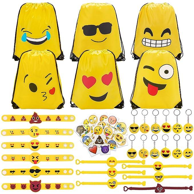 Konsait 70 Pack Emoji Bolsas De Cuerdas Emoji Llavero Emoji
