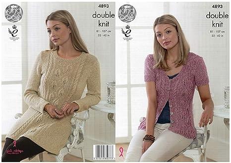 bdb43579a King Cole Ladies Double Knitting Pattern Womens Lace Detail Tunic   Cardigan  (4893)  Amazon.co.uk  Kitchen   Home