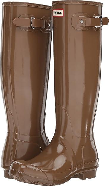 4ad98cce34be Hunter Women s Original Tall Gloss Rain Boots Mushroom 5 M ...