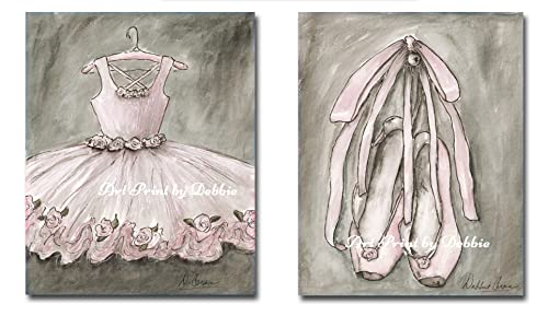 Amazon.com: Blush Pink Ballet Nursery Wall Art, Set Of 2 ...