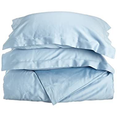 Superior 100% Premium Combed Cotton, Soft Single Ply Sateen, 3-Piece Duvet Cover Set, Solid, King/California King - Light Blue