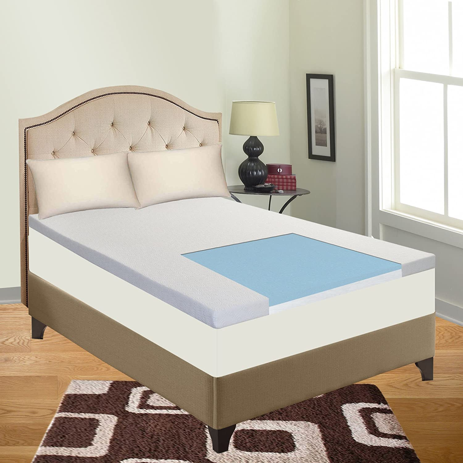 "Amazon.com: Cool Gel Memory Foam Topper for Queen Size Mattress - Provides  Comfortable Support and Keeps You Cool All Night Long - 2"" Thick: Home &  Kitchen"