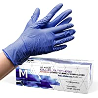 Powder Free Disposable Gloves Medium - 100 Pack - Nitrile and Vinyl Blend Material...