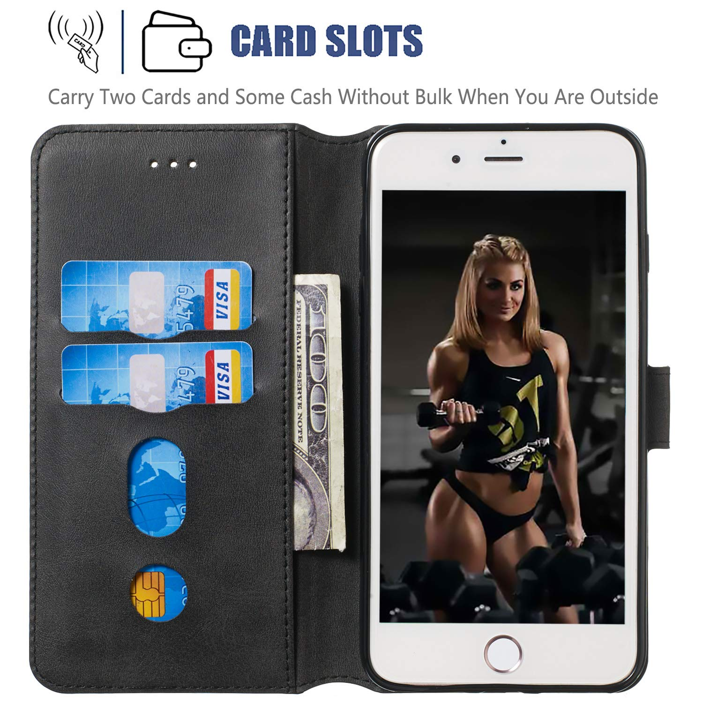 Lomogo Coque iPhone 8 iPhone 7 Portefeuille Housse en Cuir avec Porte Carte Fermeture par Rabat Aimant/é Antichoc /Étui Case pour Apple iPhone 8//7 LOYYO080019 Noir