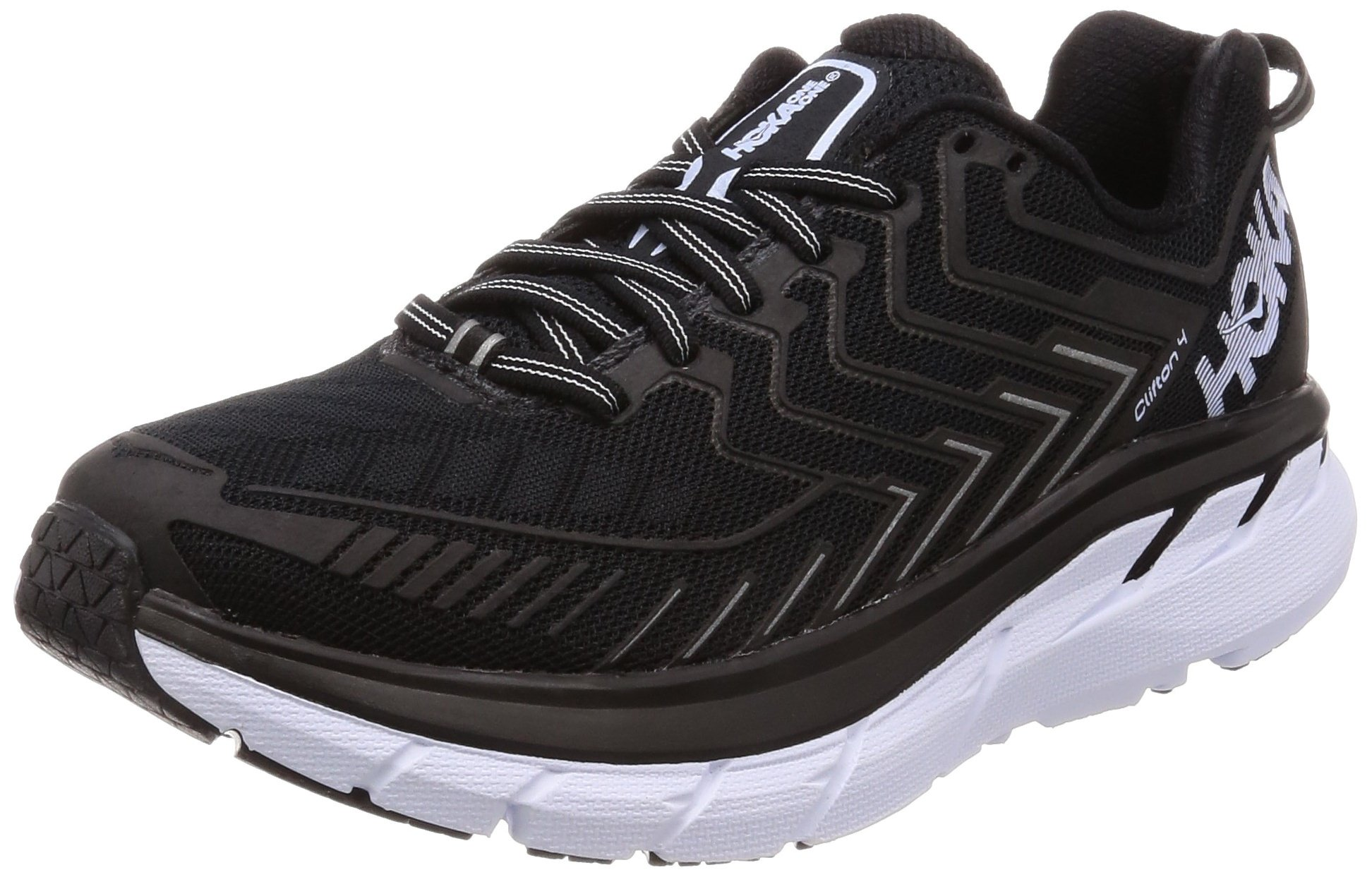 HOKA ONE ONE Clifton 4 Running Shoes - Women's Black/White 9