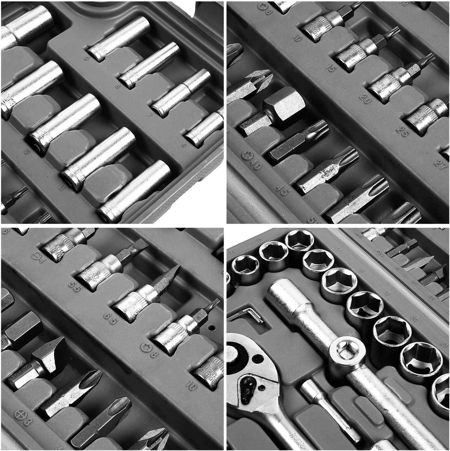 F/ür Montage- /& Schraubarbeiten//Stecknuss-Set//Bit-Set//Werkzeugkoffer 1//4 Zoll 1//2 Zoll mit Umschaltknarre Steckschl/üssel Satz Knarrenkasten 94-teilig