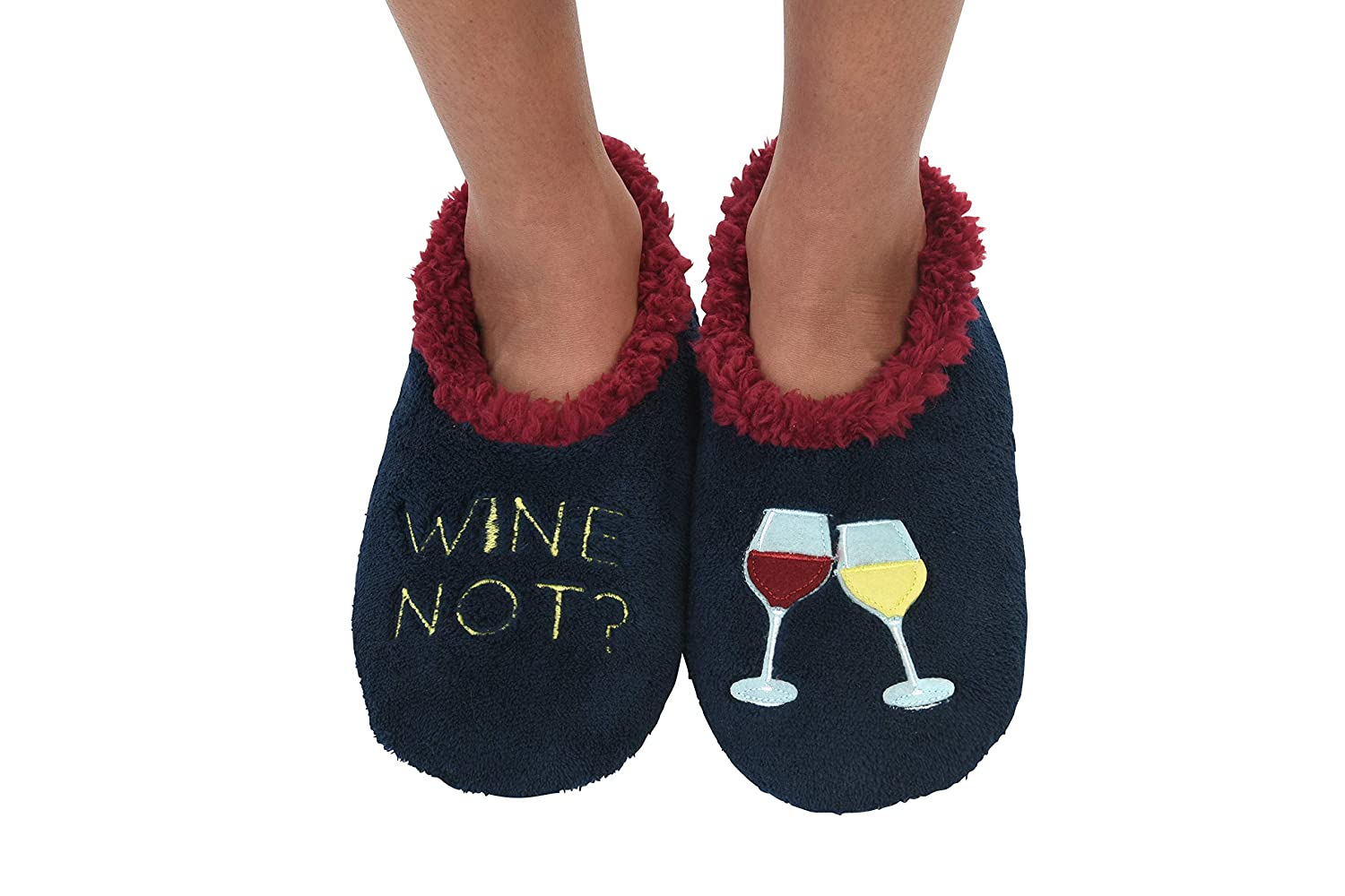 Womens Classic Splitz Applique Slipper Socks