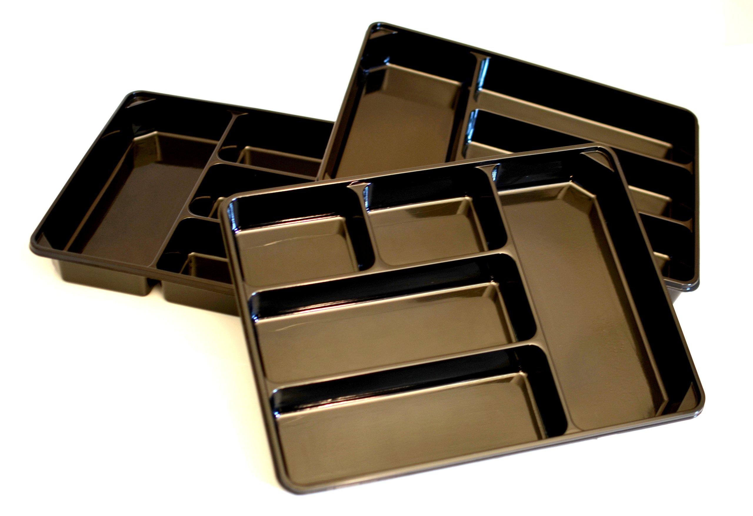 3-PACK of Organizer Trays for Desk, Utensils, Tools, Crafts, Vanity - 15.7'' x 11.7'' x 2.0'' - Black