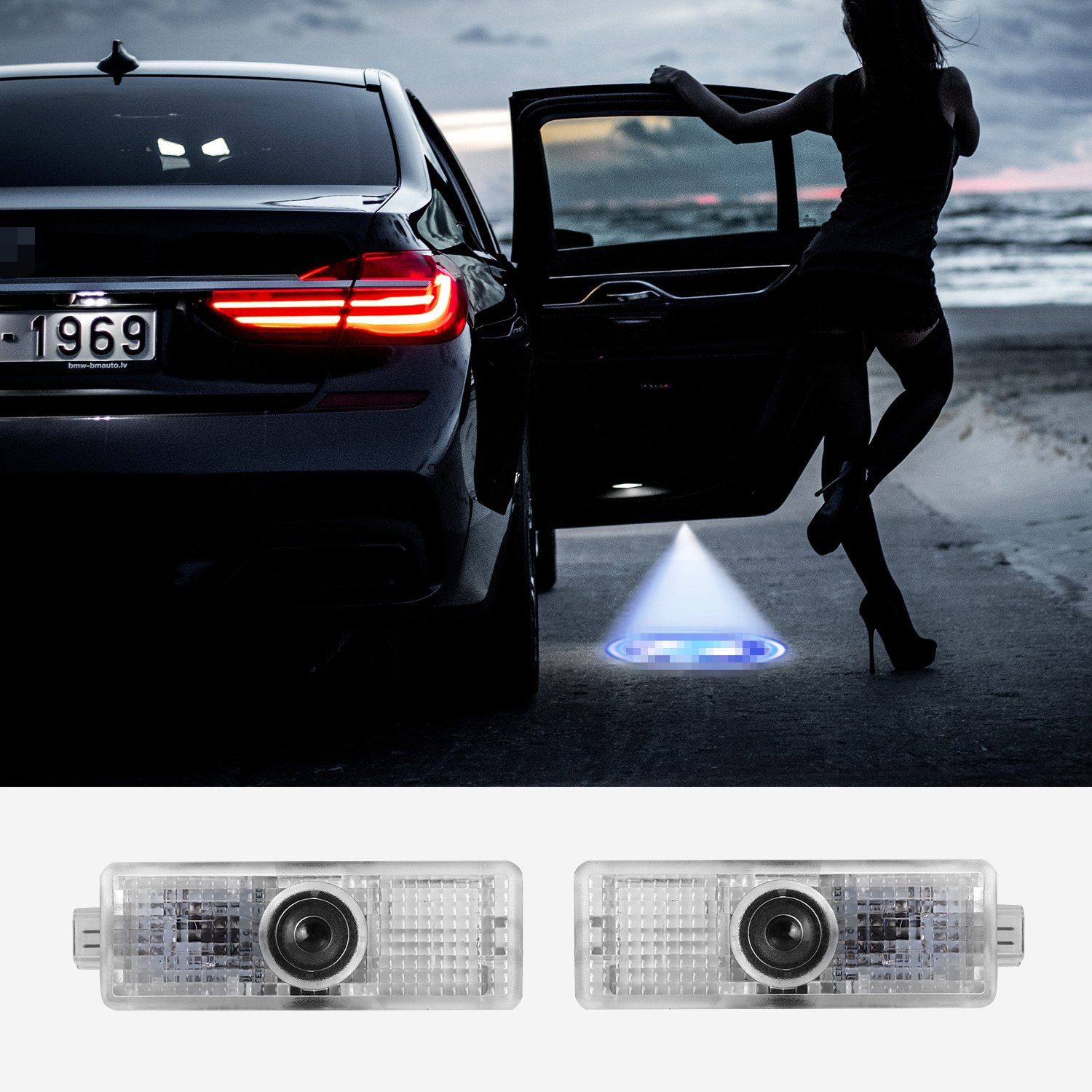 IRONSKY Universal Car LED Welcome Ghost Shadow Angel Wing Courtesy Projector Light