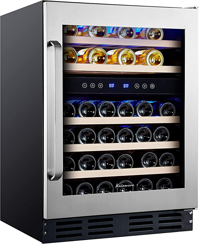 Amazon Com Kalamera 45 Bottle Dual Zone 24 Built In Or Freestanding Wine Cooler Refrigerator With Stainless Steel Appliances