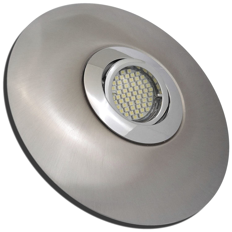 2 Stück SMD LED Einbaustrahler Big Lana 230 Volt 9 Watt Schwenkbar Chrom + Edelstahl geb.   Warmweiß