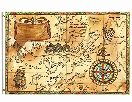 Old Treasure Map Amazon.: Wamika Old Treasure Map Flag 3x5 FT with Brass