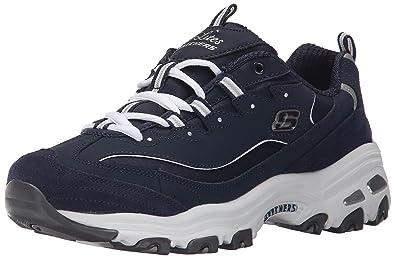 Skechers Sport Women's D'Lites Memory Foam Lace-up Sneaker,Me Time Navy