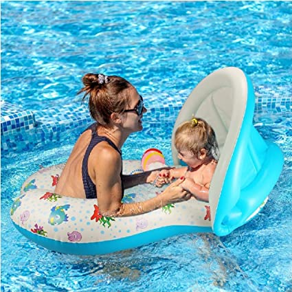White YONG-SHENG-MIN Mother /& Baby Swimming Float with Inflatable Sunshade Canopy, Baby Aid Safety Pool Boat Toys with Sun Canopy UV Pretection