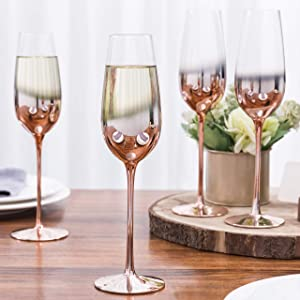 MyGift 9 oz Champagne Flute Ombre Rose Gold Stemware Glasses, Set of 4