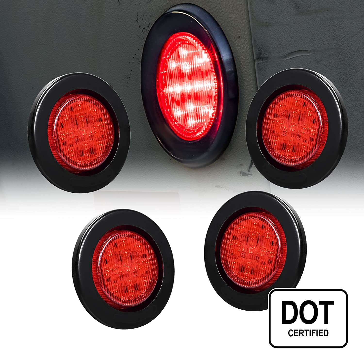 4PC 2.5' Round 10 LED Light [2 in 1 Reflector] [Polycarbonate Reflector] [13 LEDs] [D.O.T. Certified] [2 Year Warranty] Side Marker Light for Trucks and Trailers - Red ONLINE LED STORE