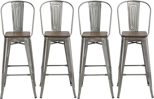BTEXPERT 30″ Industrial Clear Metal Vintage Antique Style Distressed Brush Rustic Dining Counter Height Bar Stool Chair High Back Handmade Wood top seat Set of 4 Barstool