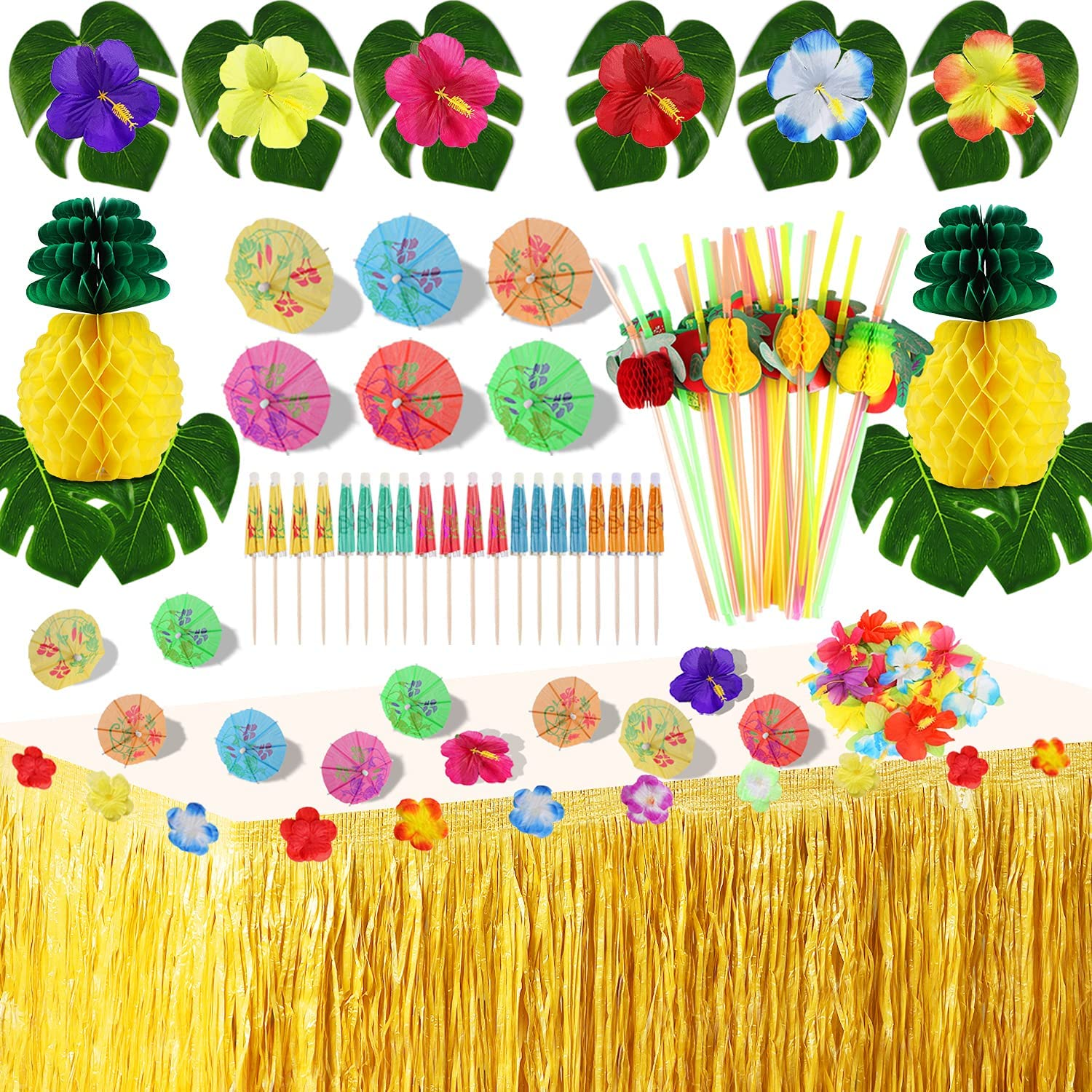 Hawaii Tropical Party Decoration Set with 9 feet Hawaii Luau Grass Table Skirt, Hibiscus Flowers, Palm Leaves, Paper Pineapple, Umbrella Food Toppers and 3D Fruit Straws Luau Party Supplies