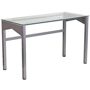 Flash Furniture Contemporary Desk With Clear Tempered Glass Top