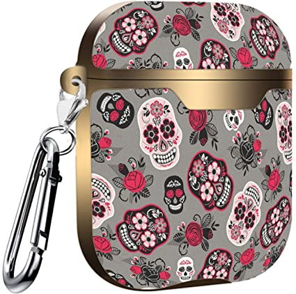 Shockproof Soft TPU Gel Case Cover with Keychain Carabiner for Apple AirPods Compatible with AirPods 2 and 1 Day Dead Colorful Sugar Skull