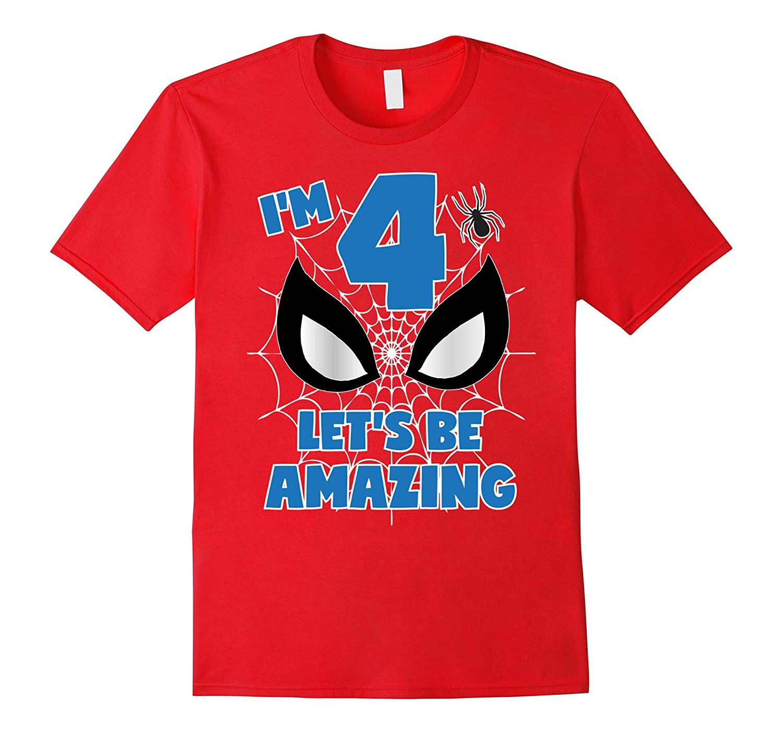 Girls Boys Birthday Shirt Age 4 Spider Superhero Theme-TD