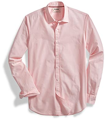 dbb400dd Goodthreads Men's Slim-Fit Long-Sleeve Solid Poplin Shirt, Pink, Large