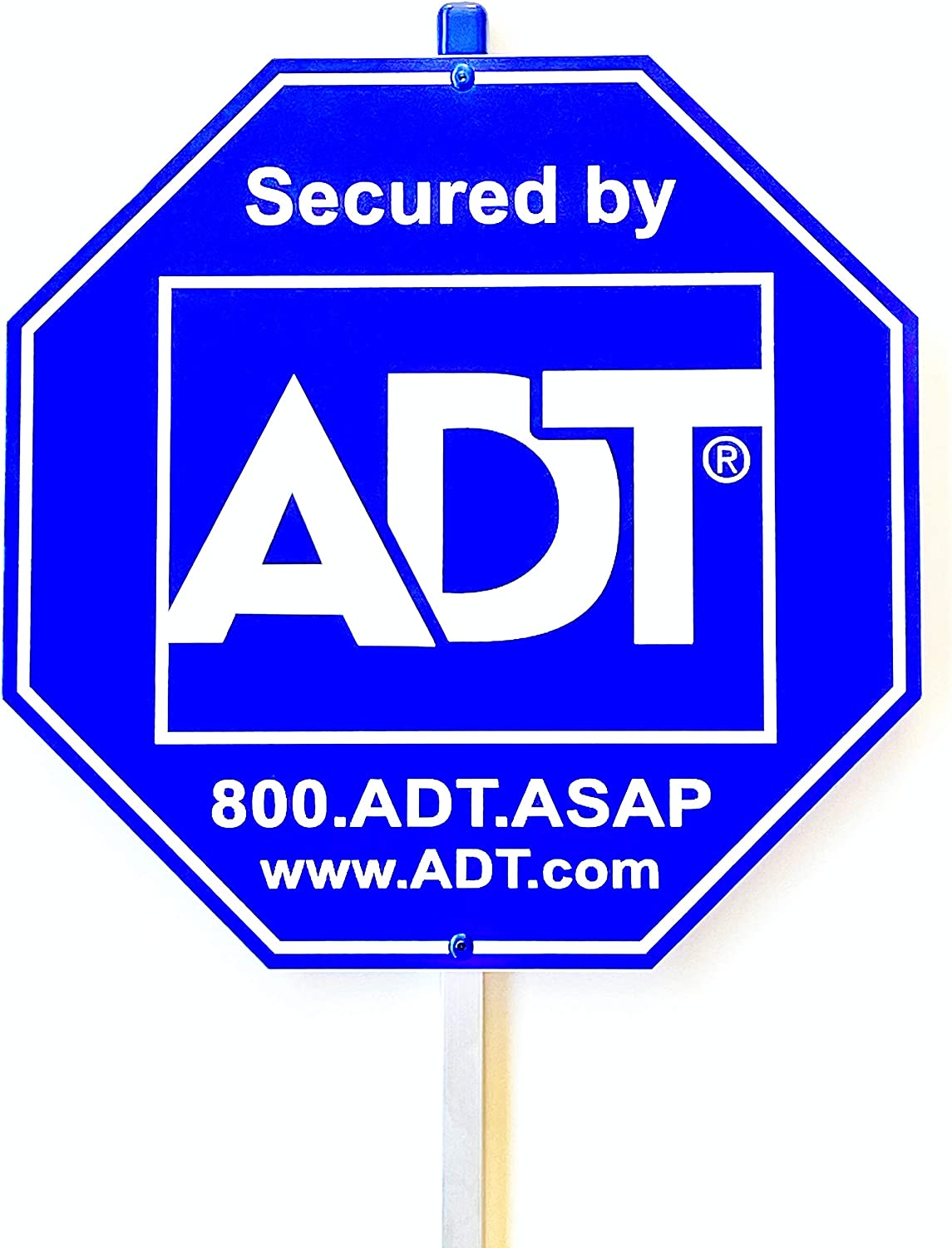 Security Home ADT Yard Sign with Aluminum Post, 2 Blue Rivets for Added and 6 Years of Durability