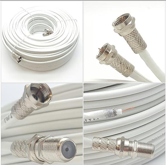 TALLA 5 m. Cable coaxial de Sky Satélites, conectores en F, color blanco