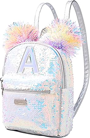 "Girls Butterfly 2 Way Sequin 16/"" Backpack Silver"