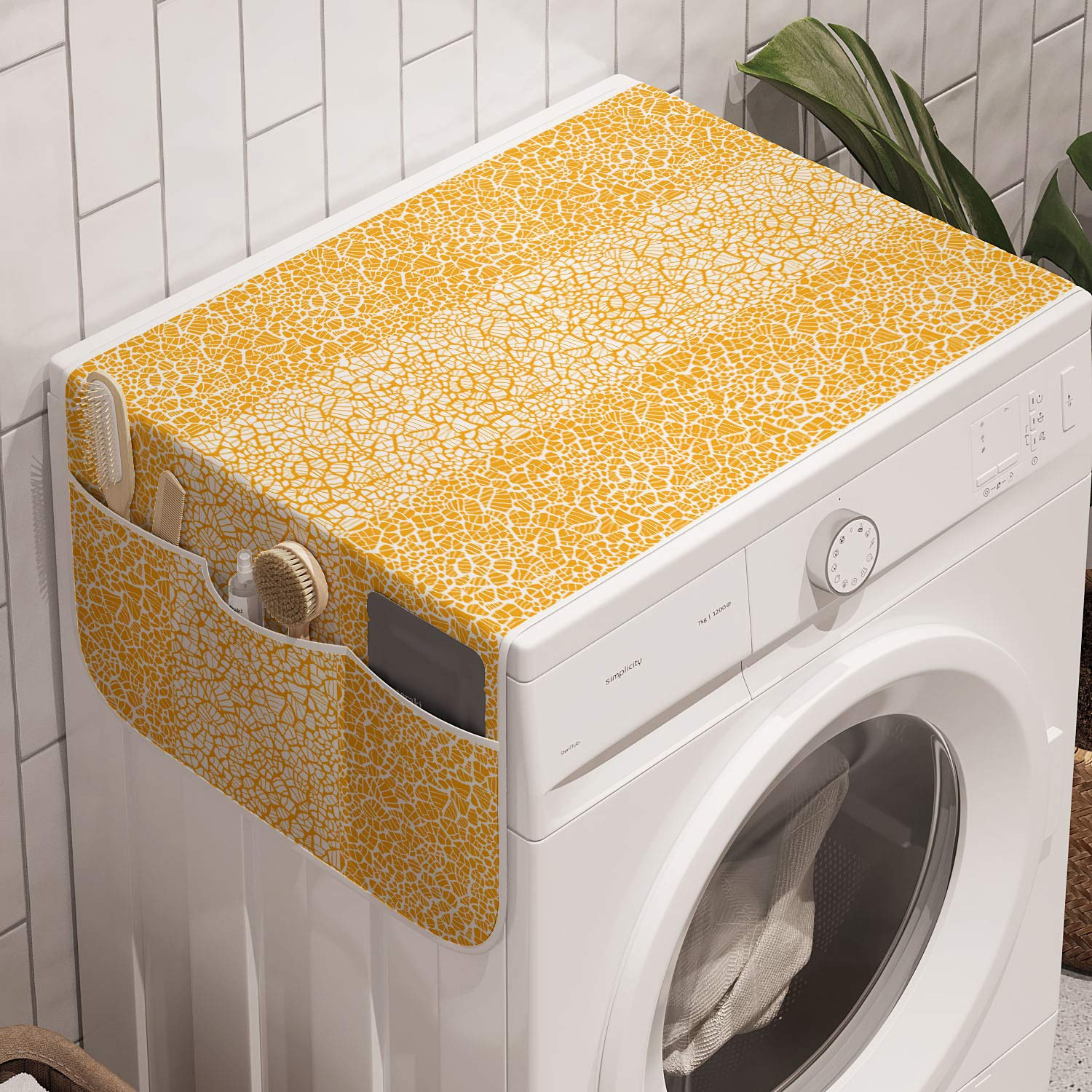 """Ambesonne Orange and White Washing Machine Organizer, Abstract Giraffe Skin Pattern Camouflage Print Spots Stripes, Anti-slip Fabric Top Cover for Washer and Dryer, 47"""" x 18.5"""", Orange and White"""